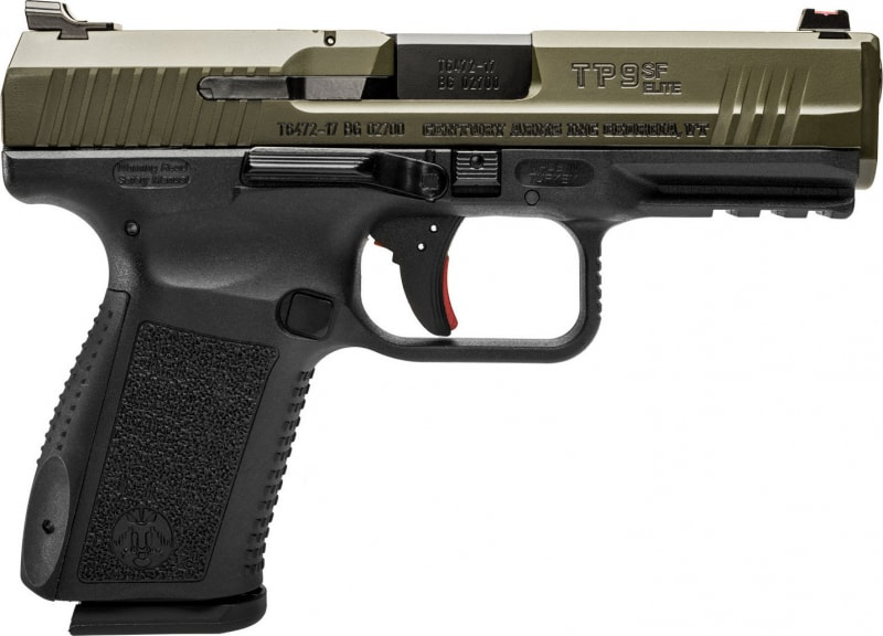 "Century HG3898GN TP9SF Elite DA/SA 9mm Luger 4.2"" 15+1 Black Interchangeable Backstrap Grip OD Green"