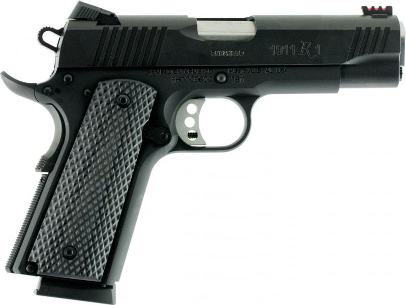 "Remington Firearms 96492 1911 R1 Ultralight Single 45 ACP 4.25"" 8+1 Laminate Gray Grip Black PVD Coated"