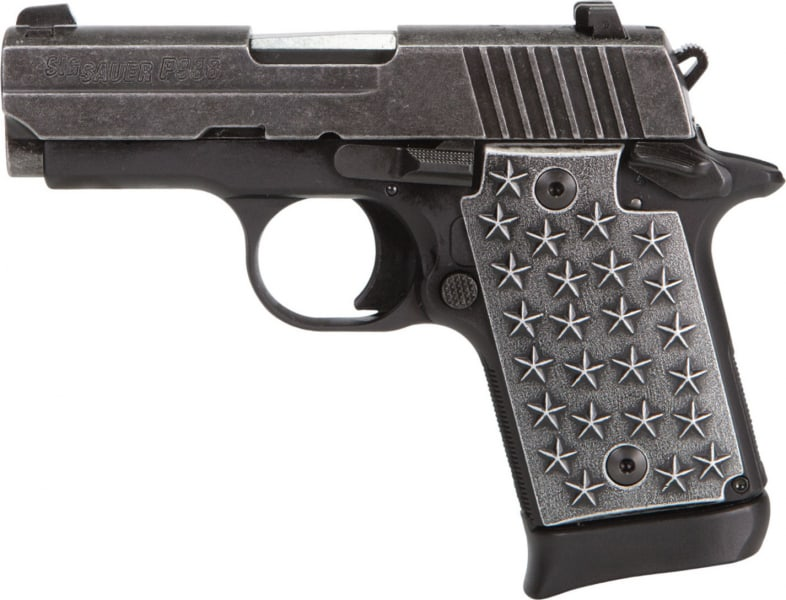 """Sig Sauer 9389WTP P938 We The People Single 9mm Luger 3"""" 7+1 CS Black Hard Coat Anodized Frame Distressed Stainless Steel"""