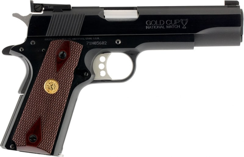"Colt O5872A1 1911 Gold Cup National Match Series 70 Single 9mm Luger 5"" 8+1 Walnut w/Gold Medallion Grip Blued Carbon Steel"