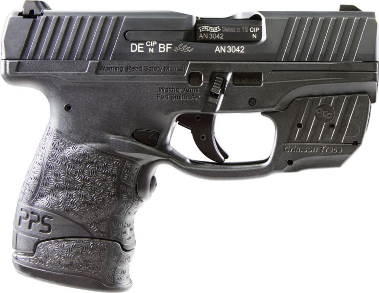 "Walther Arms 2805963 PPS DA/SA 9mm 3.18"" 7+1 Crimson Trace Laser Grip Black Tenifer"