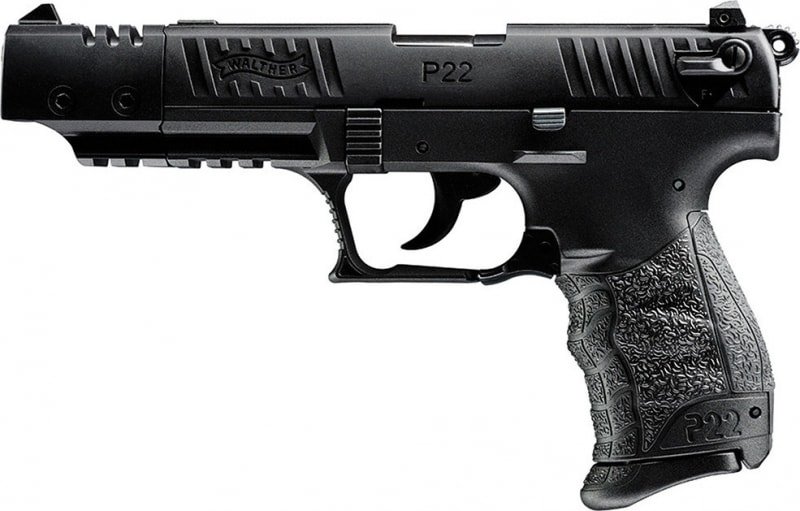 "Walther Arms 5120302 P22 Target DA/SA 22 LR 5"" 10+1 Black Polymer Grip/Frame Grip Black Tenifer"