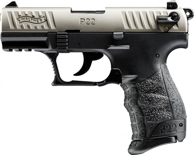 "Walther Arms 5120337 P22 Target *CA Compliant* DA/SA 22 LR 5"" 10+1 Black Interchangeable Backstrap Grip Nickel/Black"