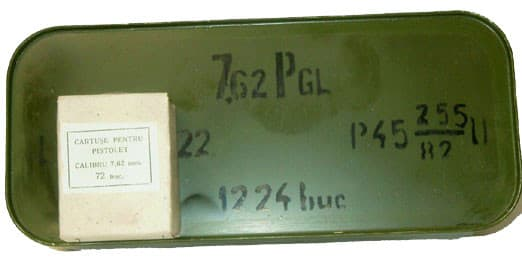 Romanian 7.62x25 86gr, Brass, Berdan, 1980's Production Ammo - 1224rd Tin