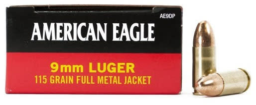 American Eagle 9mm 115gr FMJ Ammo AE9DP - 50rd Box
