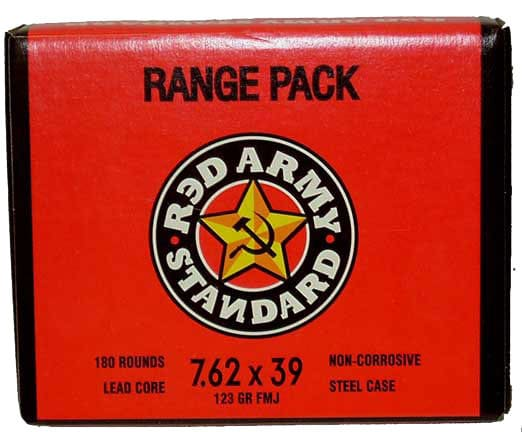 Red Army Standard 7.62x39 124gr FMJ Ammo, Non-Corrosive - 1000rd Case