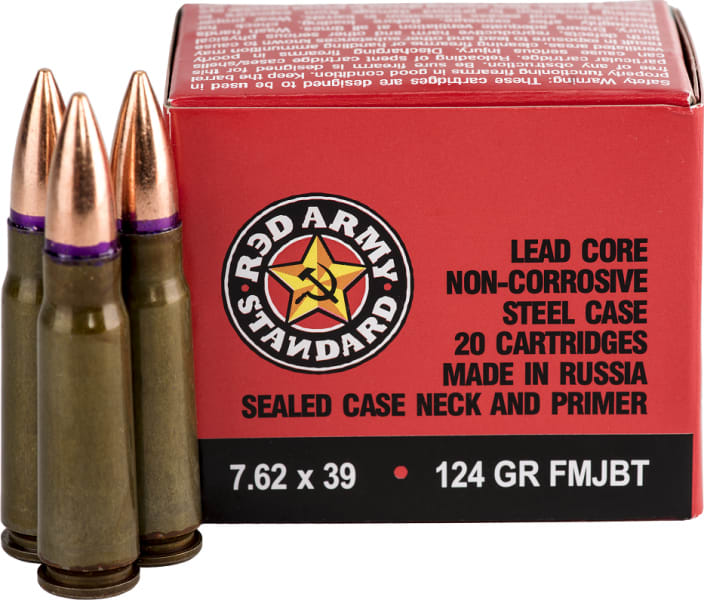 Red Army Standard 7.62x39 124 GR FMJ Ammo, Non-Corrosive - 1000rd Case