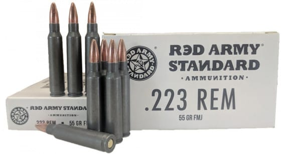 Red Army Standard -.223 Remington , 55 Grain, Laquer Coated Steel Case, Non-Corrosive FMJ, 20 Round Box - Made In Russia. Century Arms # AM3089