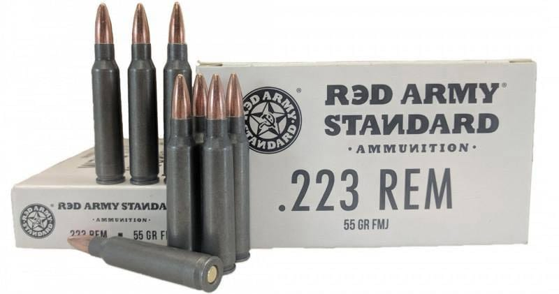 Red Army Standard - Case, .223 Remington , 55 Grain, Laquer Coated Steel Case, Non-Corrosive FMJ, 1000 Rounds. Made In Russia. Century Arms # AM3089