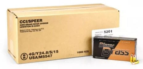 CCI Blazer Brass 9mm 124 GR FMJ Ammunition 5201 - 1000rd Case