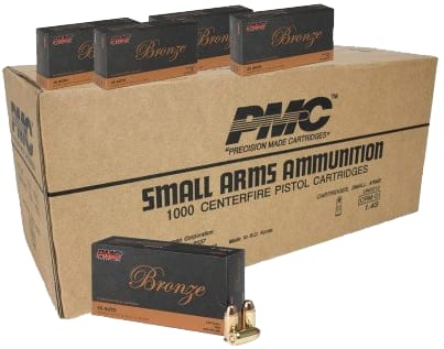 PMC 45A Bronze 45 ACP Ammunition 1000 Round Case -  230 GR FMJ, Brasse, Boxer, Re-Loadable - 50 Rounds Per Box In A 1000 Round Case