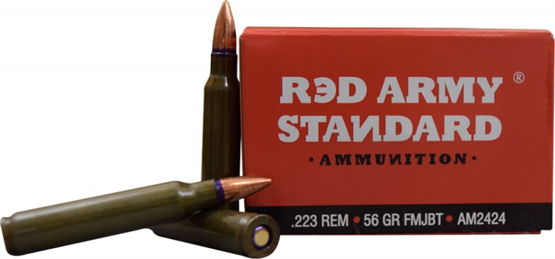 Red Army Standard .223 Rem 56 GR FMJ Boat Tail Lead Core Ammo, Non-Corrosive - 1000rd Case