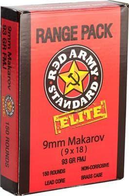 Red Army Standard Elite 9x18 Makarov 93 GR FMJ Brass Cased Ammo AM2017B - 150rd Range Pack
