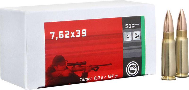 265840020 Geco 7.62x39 TGT 1000 Round Case -  124 GR, Brass Cased, Boxer Primed, Non-Corrosive, Re-Loadable - 20 Rounds Per Box In A 1000 Round Case