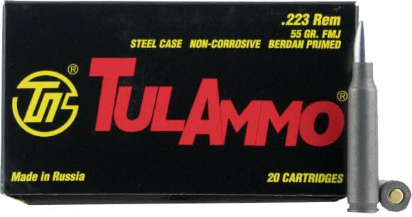 Tula .223 Remington 55 GR Full Metal Jacket Centerfire Rifle Ammunition, Non-Corrosive - 20 Rds / Box - Tulammo TA223550