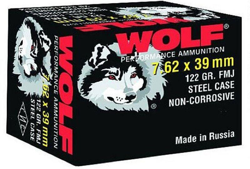 Wolf Performance 7.62x39 122 GR Ammo, FMJ Non Corrosive - 20rd Box