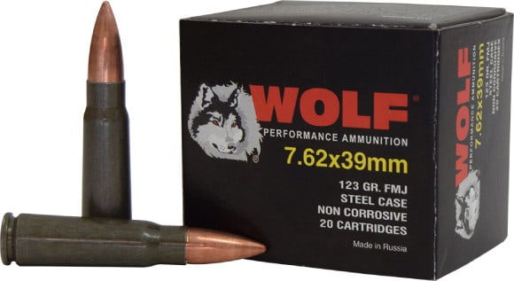 Wolf Performance 7.62x39 122 GR Ammo, FMJ Non Corrosive - 1000rd Case