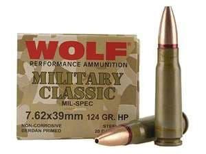 Wolf Military Classic 7.62x39 124gr HP Ammo - 20rd Box