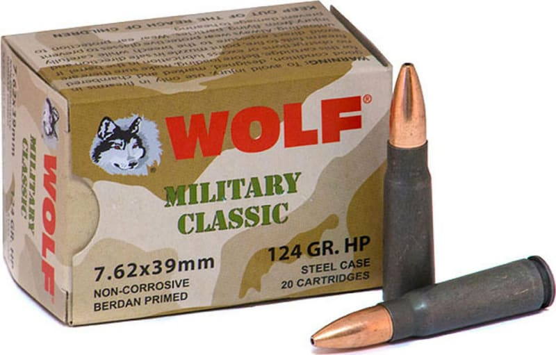 Wolf Military Classic 7.62x39 124 GR HP Ammo - 1000rd Case