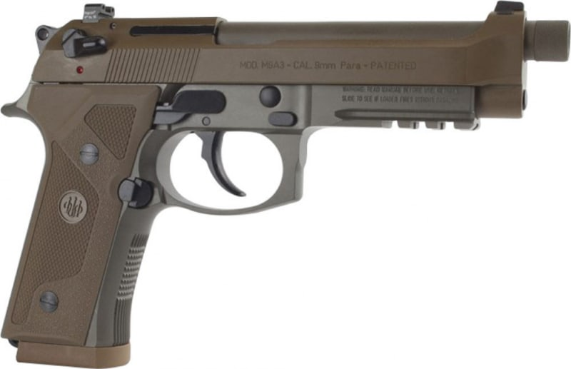 Beretta M9A3 Vertec FDE 9mm Threaded Barrel with (3) 17 Rd Magazines- J92M9A3M