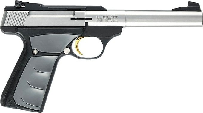 "Browning Buck Mark Camper Stainless UFX 22LR Pistol, 5.5"" Calif. Compliant Ultra Grip FX SS - 051-483490"