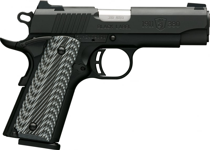 "Browning 1911-380 Black Label Pro Compact 380 ACP Pistol, 3.63"" Combat White Dot - 051908492"