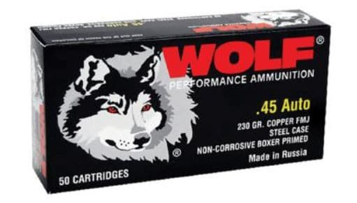 Wolf 45FMJ Handgun 45 ACP 230 GR Full Metal Jacket - 50 Round Box