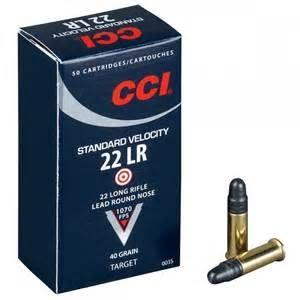 CCI Standard Velocity .22 LR 40gr Ammo, LRN Bullet - 50rd Box