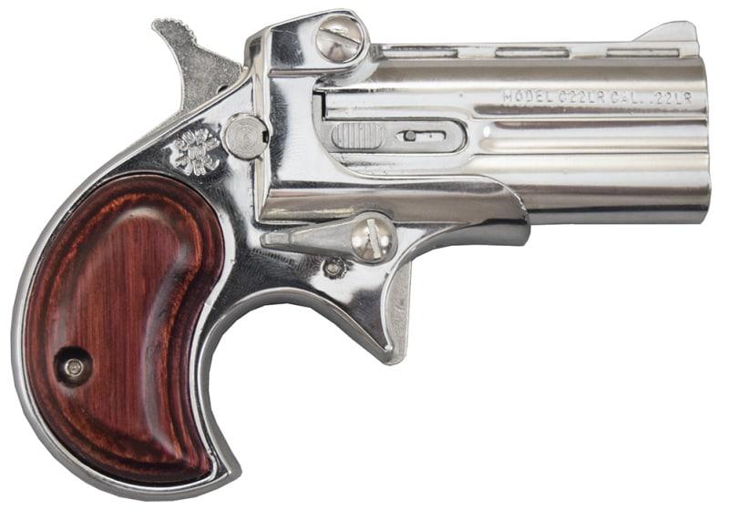 Cobra Derringer .22LR, Over / Under, Chrome / Rosewood Grips C22CR