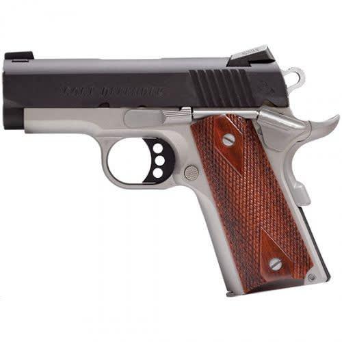"Colt Custom Defender .45 ACP Pistol, 3"" Blued - Stainless Steel - Wood Grips - CLT O7000DZ2"