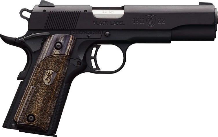 "Browning 1911-22 A1 Black Label 22LR Pistol, 4.25"" Laminated Grip - Black Rain Ordnance051814490"