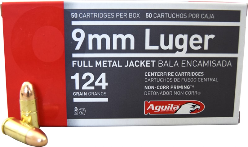 Aguila 9mm Luger 124gr Full Metal Jacket Ammo - 50rd Box