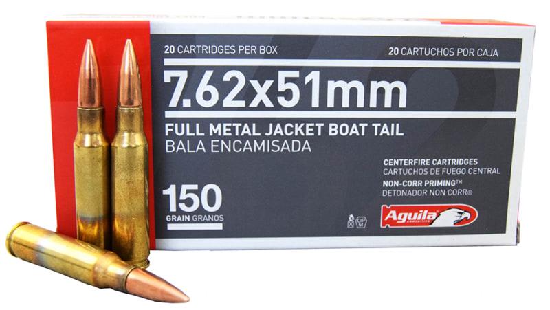 Aguila 7.62x51 NATO 150 GR FMJ BT Ammo 1E762110 - 20rd Box