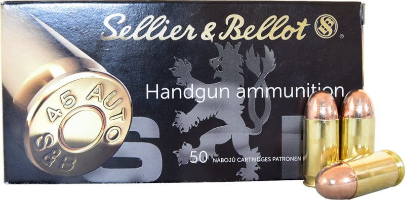 Sellier and Bellot SB45A 45 ACP 230 GR FMJ Ammo - 50rd Box