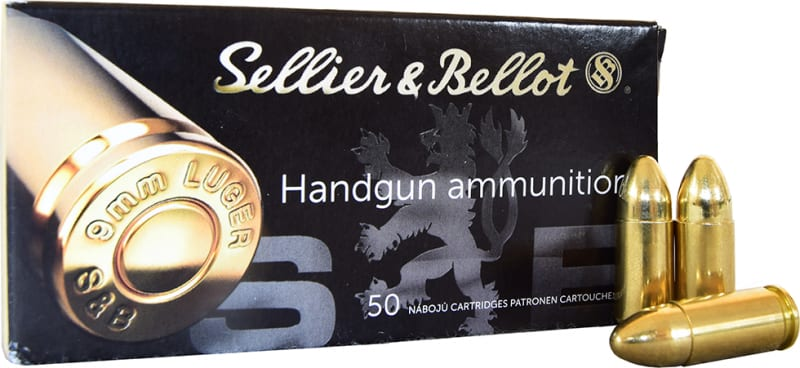 Sellier and Bellot 9mm 115 GR FMJ Ammo - 50rd Box