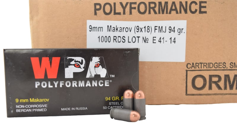 Wolf Polyformance 9x18 94 GR Makarov FMJ Ammo - 1000rd Case