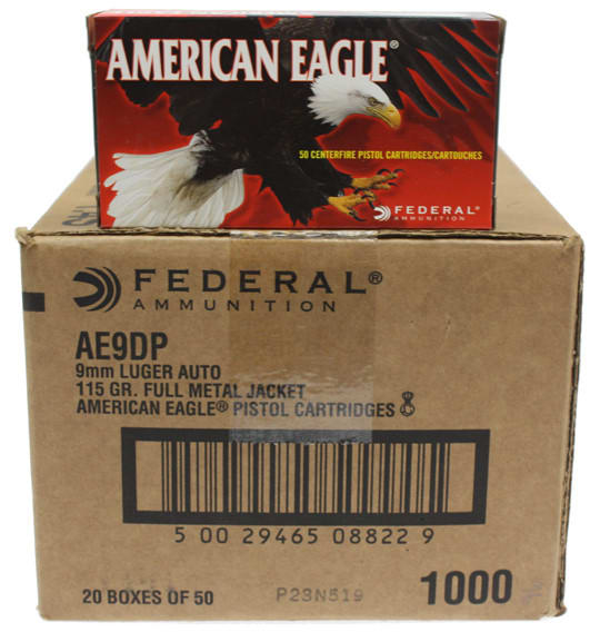 American Eagle 9mm 115gr  FMJ Ammo AE9DP - 1000rd Case