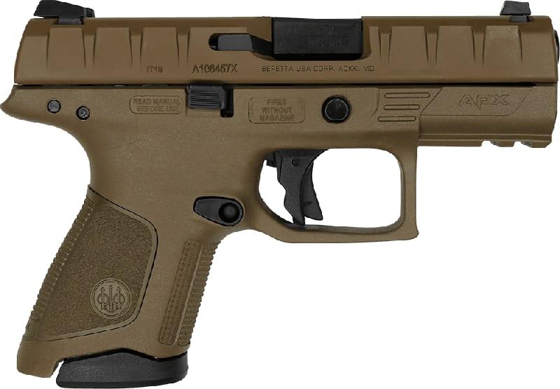 Beretta APX Compact Semi-Auto Pistol 9mm 13 Round W / FDE Finish - Comes With 2 Mags - JAXC92105