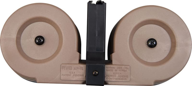 Gen II AR-15 / M16 100 Round Dual Drum Magazine .223/5.56 With Reinforced Feed Lips in Desert Tan