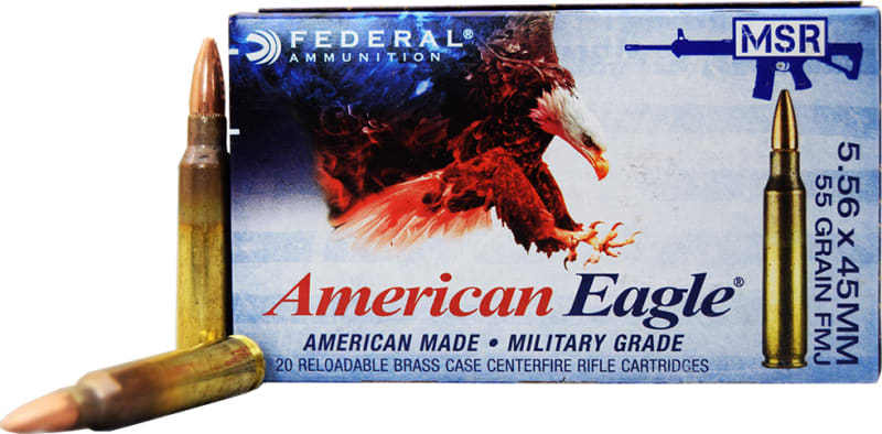Federal American Eagle XM193 5.56x45mm 55gr FMJ Ammo, Lake City Production - 20rd Box