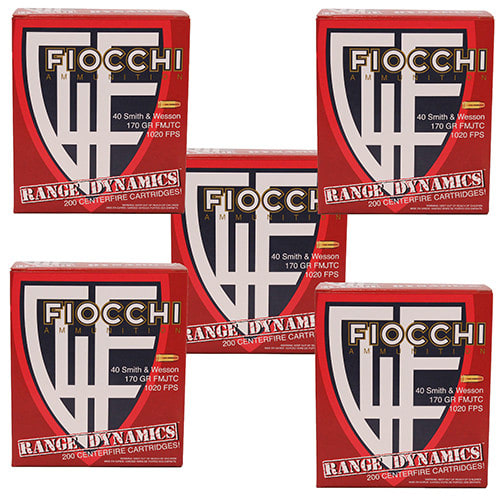 Fiocchi 40ARD100 Range Dynamics 40 Smith & Wesson (S&W) 170 GR Full Metal Jacket Truncated Cone - 1000rd Case