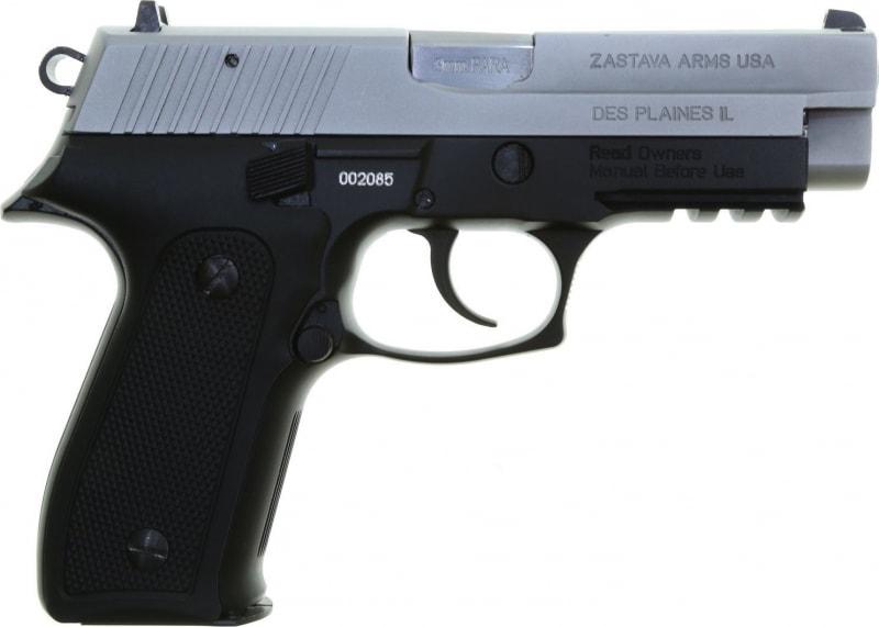 Zastava HEZ9MCS EZ9 9MM Full Size Pistol, 4.25 BBL 15 Round Capacity, Black Frame W /Matte Chrome Slide - W / 2-15 Round Mags