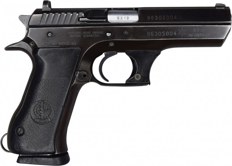 """IMI Jericho 941F 9mm Semi-Auto Pistol 4.5"""" BBL, Blued Finish. S/A, 15 Rd - Israeli Made - G/VG Surplus Condition - With Police Star Markings"""