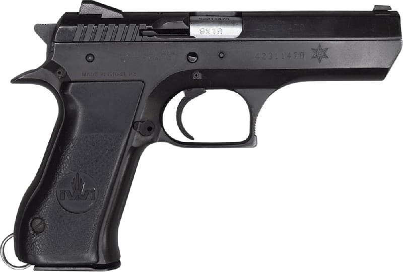 """IWI Jericho 941F 9mm Semi-Auto Pistol 4.5"""" BBL, All Steel, Blued Finish. 15 Rd, S/A - Israeli Made - Good Surplus Condition - With Police Star Markings"""