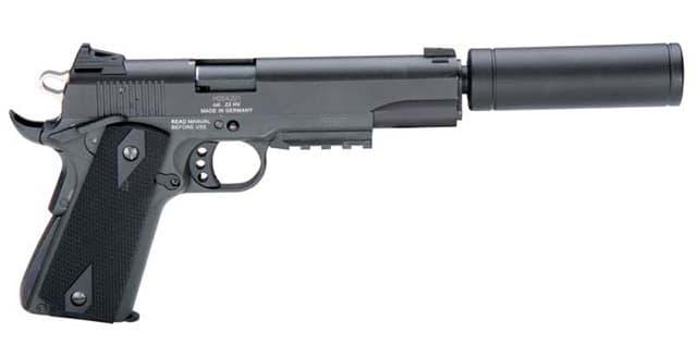 "American Tactical Imports GSG 1911 22LR Pistol, 5"" AD OPS Faux Suppressor - GERG1911ADOP"