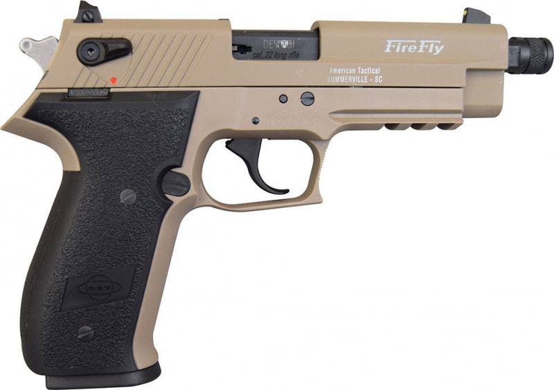 "ATI GSG Firefly Pistol .22LR - 4.9"", Tan, 10rd Capacity, Threaded Barrel - GERF2210TFFT"