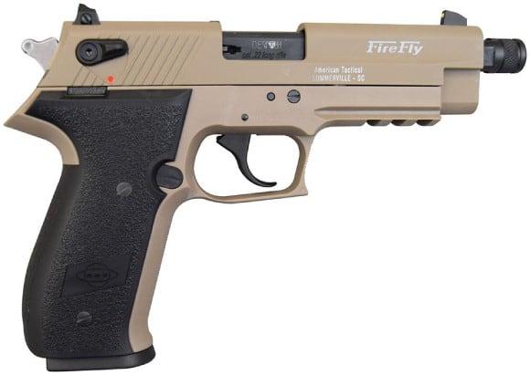 "ATI GSG Firefly Pistol .22LR - 4.9"", Tan, 10rd Capacity, Threaded Barrel - GERF2210TFFT"