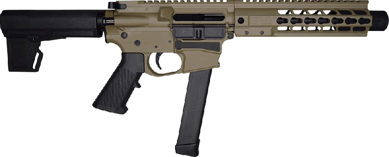 "Brigade MFG BM-9 Billet Receiver 9mm AR Pistol 9"" BBL 8"" U-Rail, Flat Dark Earth Cerakote Finish, M-2 Adjustable KAK Brace - W / 1-33 Rd O.E.M. Glock Magazine & Shooters Package"