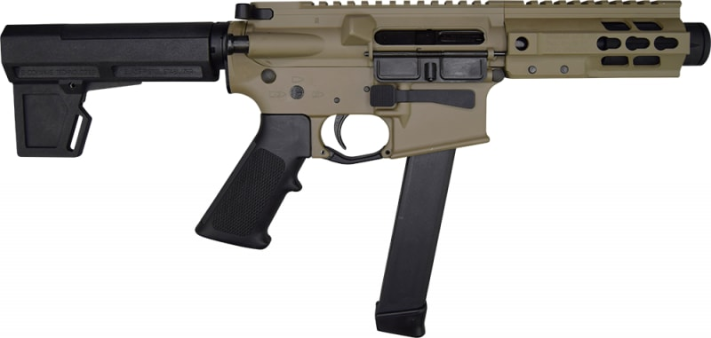"Brigade MFG BM-9 Forged 9mm AR Pistol 5.5"" BBL 5"" U-Rail, FDE Cerakote Finish, M-2 Adjustable KAK Pistol Brace - W / 1-33 Rd O.E.M. Glock Magazine & Shooters Package"