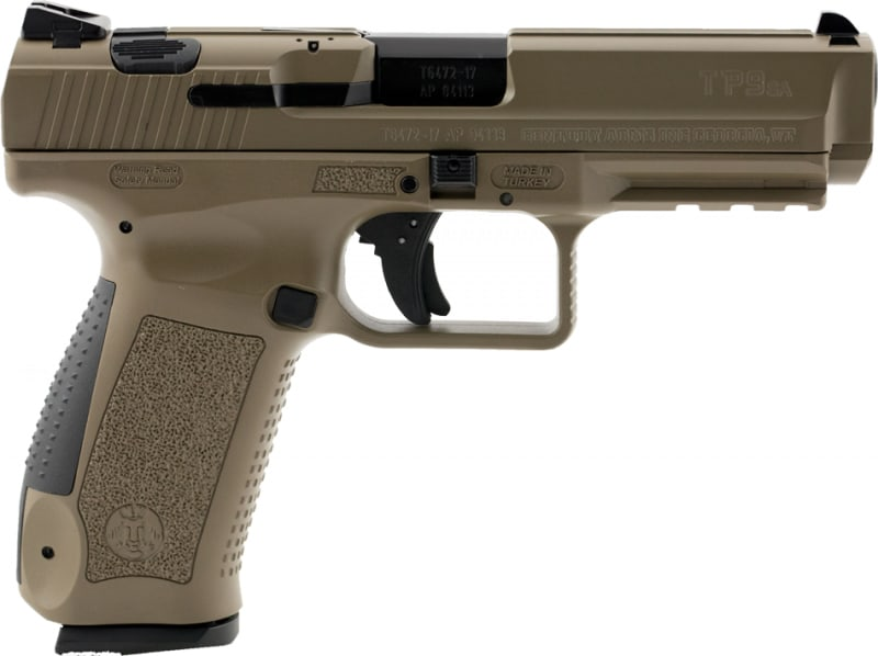 "Century HG3759DN TP9SA Double 9mm 4.4"" 10+1 3-Dot Black Interchangeable Backstrap Grip Desert Tan Polymer Frame Desert Tan Cerakote"